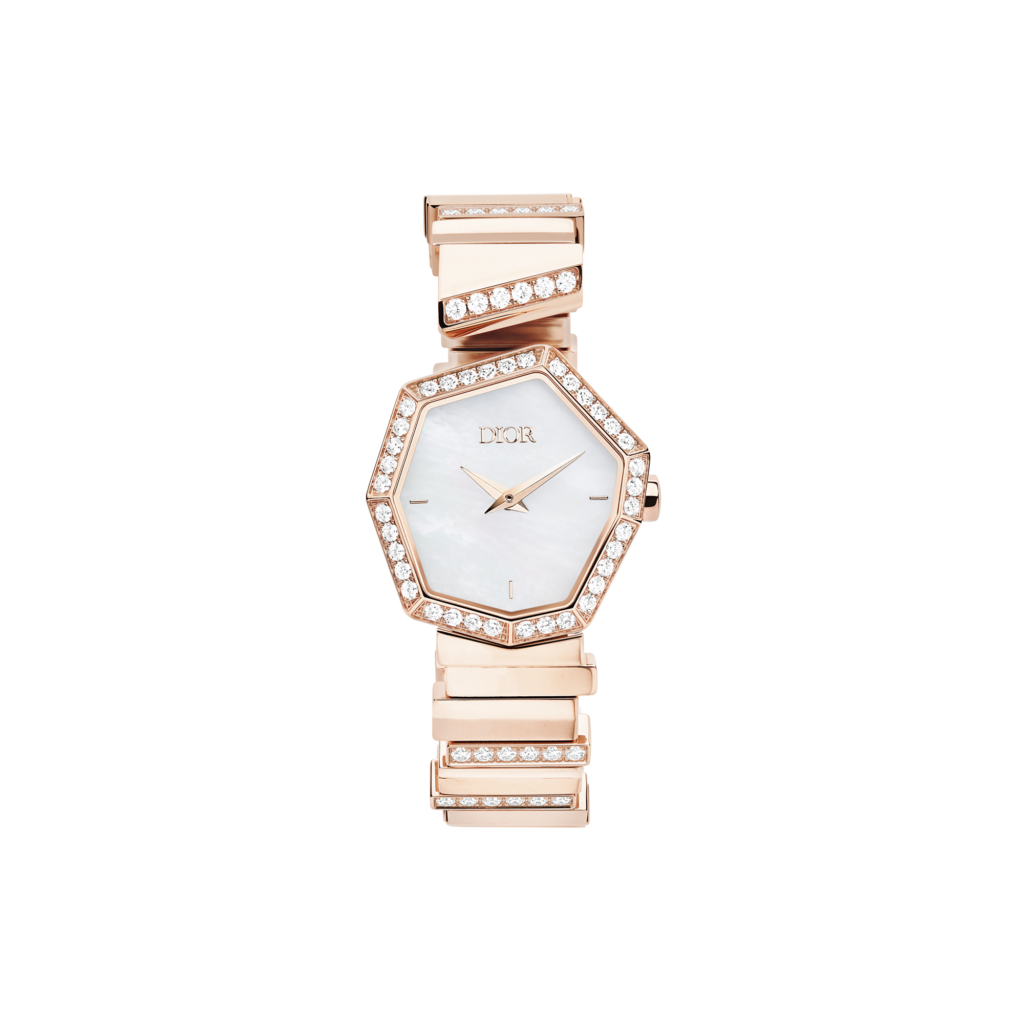 PINK GOLD, DIAMONDS AND WHITE MOTHER-OF-PEARL GEM DIOR