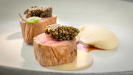 Milk-fed veal tenderloin, smoked potato mousseline, jus gras, Kaluga Amur caviar